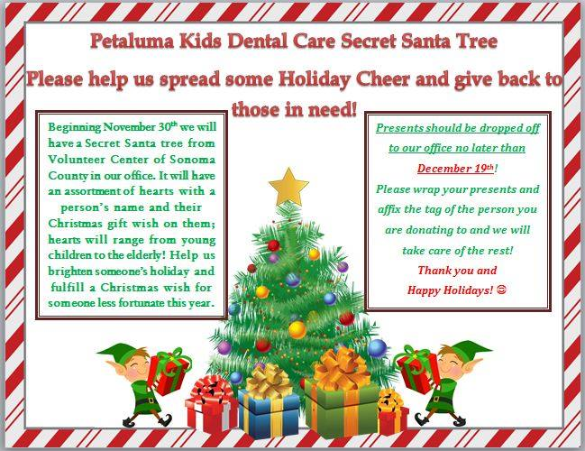 Petaluma Kids Dental Care Community Involvement - Secret Santa Tree
